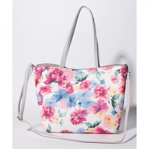 花柄リバーシブルフェイクレザートートバッグ