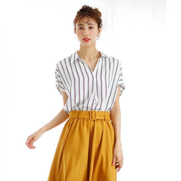 裾タックトロミスキッパー半袖/シャツ