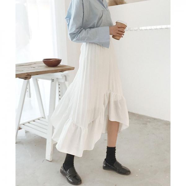 イレギュラーヘムラインプリーツスカート【お取り寄せ商品】