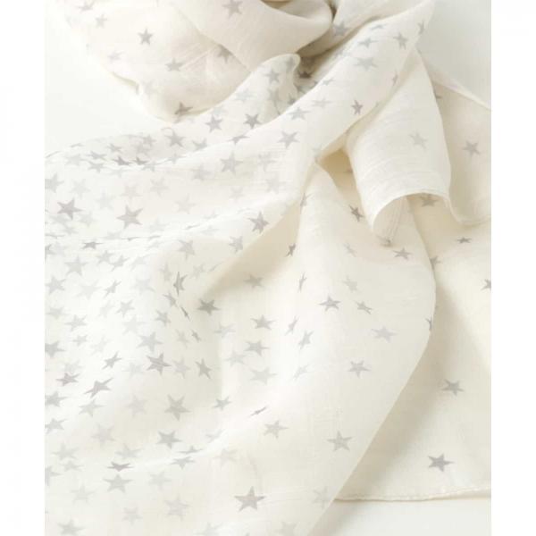 【洗える】スタープリントシルク混スカーフ【お取り寄せ商品】