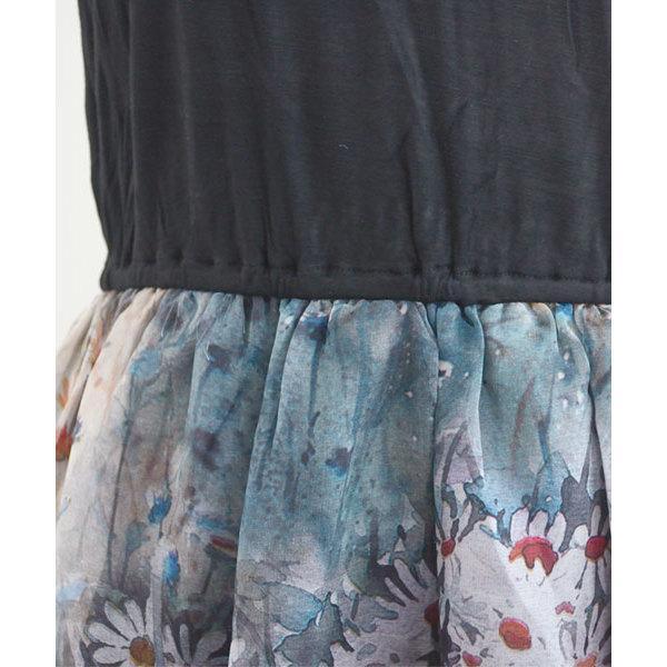 異素材切り替え花柄半袖Tシャツロングワンピース【お取り寄せ商品】