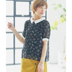 フラワープリントシャツ衿プルオーバー