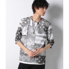 8cc9c28c756b ペイズリー柄プリント7分袖Tシャツ×タンクトップアンサンブル