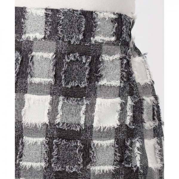 【andGIRL  10月号掲載】チェックフリンジタイトスカート【お取り寄せ商品】