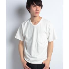 オーガニックコットン天竺VネックポケットTシャツ
