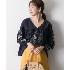 マルチカラーインド刺繍ブラウス(7分袖)【お取り寄せ商品】