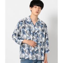 SHIPS JET BLUE:アロハ 七分袖シャツ【お取り寄せ商品】