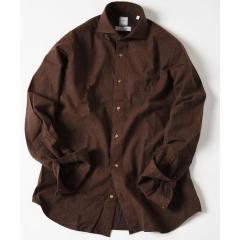 SD: MONTI社製生地 ウォッシュド ネルシャツ (ブラウン)【お取り寄せ商品】