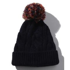 カラフルポンポンニット帽