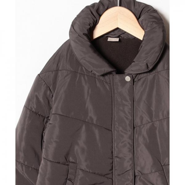 ベロア調リボンつき裏起毛中わたジャケット