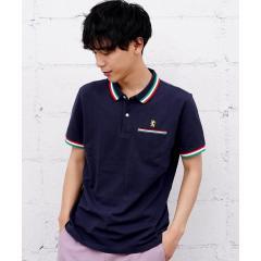 [WEB限定][GIORDANO]ライオン刺繍ラインポケットポロシャツ
