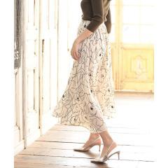 ★◆上品オーラたっぷりオリジナル生地◆アートフラワーロングスカート