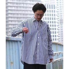 SU: ストライプ ボックスシルエット レギュラーカラー シャツ【お取り寄せ商品】