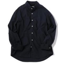 SU: スタンドカラー ストライプ シャツ【お取り寄せ商品】
