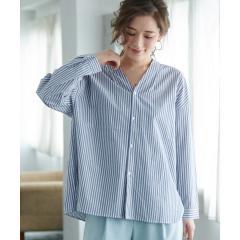 タック衿フロント釦シャツ