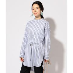 SOMELOS ストライプチュニックシャツ【お取り寄せ商品】