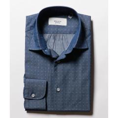 シャンブレードットセミワイドカラーシャツ【お取り寄せ商品】