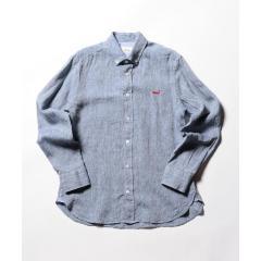 【新色追加】クジラ刺繍リネンボタンダウンシャツ【お取り寄せ商品】