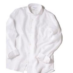SHIPS JET BLUE: L.B.N. リネン セミワイドカラーシャツ【お取り寄せ商品】