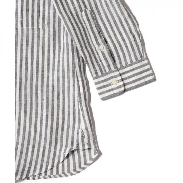 SHIPS JET BLUE: L.B.N.リネンチェックストライプ レギュラーカラー7分袖シャツ【お取り寄せ商品】