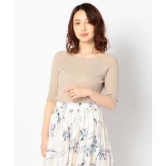 スクエアネック5分袖プルオーバーニット【お取り寄せ商品】