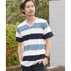 SC: MADE IN JAPAN ワイドボーダー Vネック Tシャツ 19SS【お取り寄せ商品】