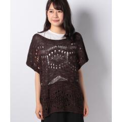 柄透かし編み半袖ドルマンニット・セーター