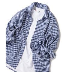 SHIPS JET BLUE: COOLMAX チェックストライプ レギュラーカラー7分袖シャツ【お取り寄せ商品】