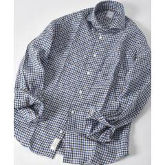 SD:ALBINI別注ギンガムチェック ウォッシュド ホリゾンタルカラーシャツ(ブラウン)【お取り寄せ商品】
