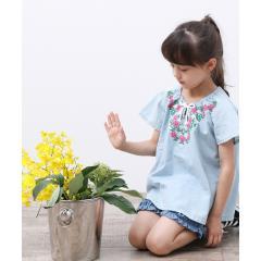 【ROPE' PICNIC KIDS】花柄刺しゅうチュニックシャツ