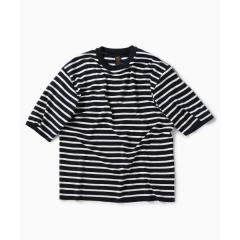 BATONER: 別注 スムース ボーダー ニット Tシャツ【お取り寄せ商品】