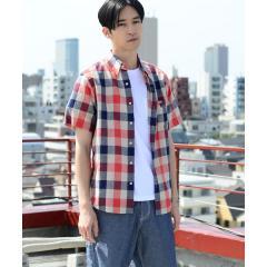ハードマンズリネン×コットン半袖チェックシャツ【お取り寄せ商品】