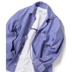 SHIPS JET BLUE: コットンリネン レギュラーカラーシャツ【お取り寄せ商品】