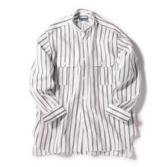 SU: Herdmans コットン/リネン ストライプ バンドカラー ボックスシャツ【お取り寄せ商品】