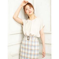 裾タックトロミPEピン付半袖/ブラウス