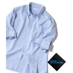 SHIPS JET BLUE: COOLMAX ドビードット 7分袖シャツ【お取り寄せ商品】