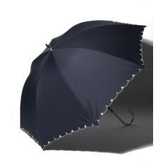 スカラップフラワー刺繍晴雨兼用長傘 日傘