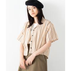 オープンカラークロップドシャツ(S)