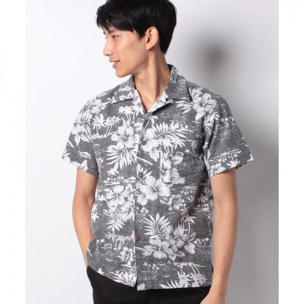綿 アロハシャツ 総柄 プリント オープンカラー