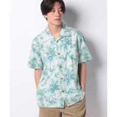 大きいサイズ メンズ アロハ シャツ 綿 裏使い 総柄 プリント オープンカラー 開襟