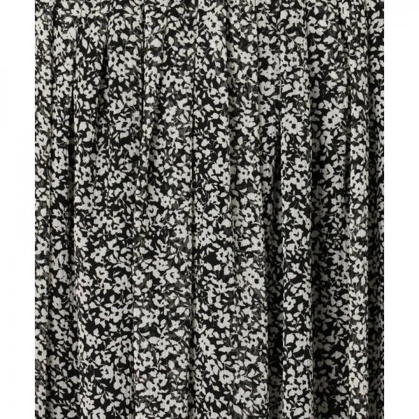 [新色追加]楊柳モノトーンプリントギャザースカート【お取り寄せ商品】