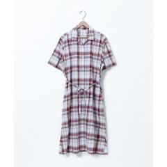 綿麻チェックシャツワンピース【お取り寄せ商品】