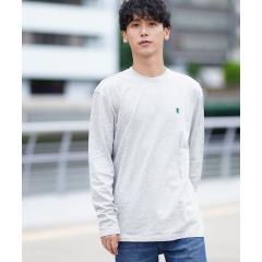 [GIORDANO]ライオン刺繍クルーネックロングスリーブTシャツ