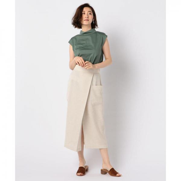 ポケ付きラップミディ丈スカート【お取り寄せ商品】