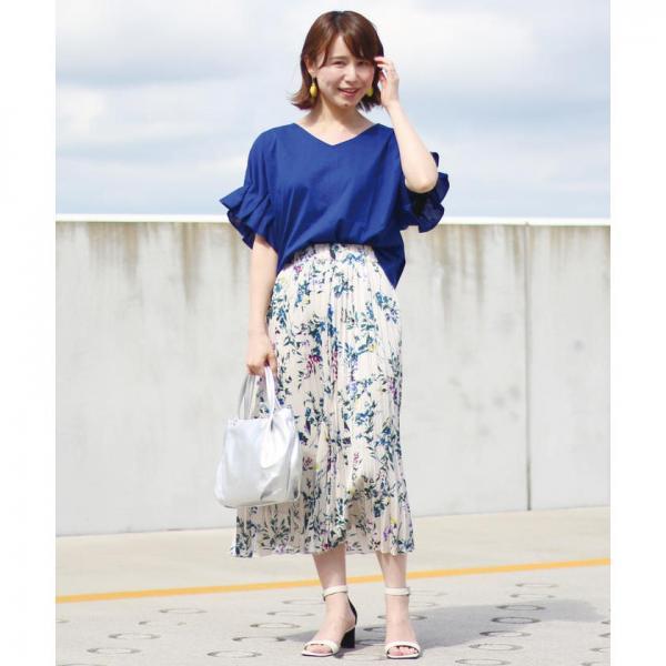 フラワープリントサテンプリーツスカート【お取り寄せ商品】