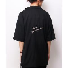 バック刺繍開襟シャツ