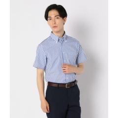 カラミ織りボタンダウン ストライプハーフスリーブシャツ【お取り寄せ商品】
