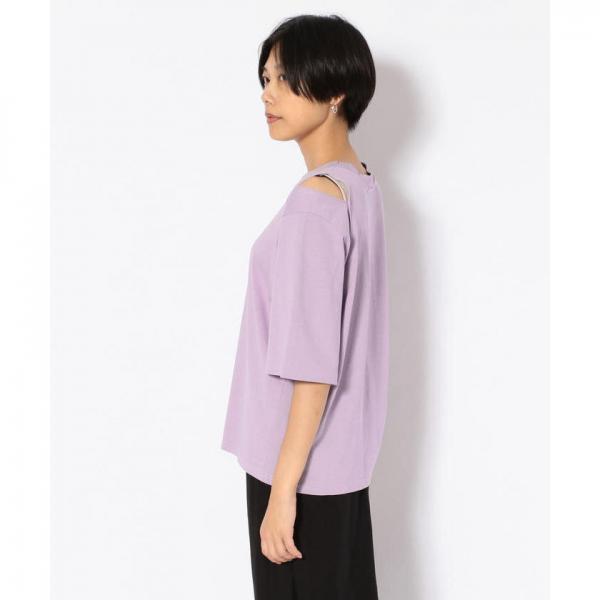 SUGAR ROSE/シュガーローズ /アシンメトリー肩スリットTシャツ【お取り寄せ商品】