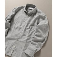 SHIPS JET BLUE: セミワイドカラー ネルシャツ ソリッド【お取り寄せ商品】