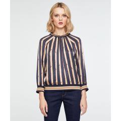 サテンプリントスタンドカラーシャツ・ブラウス